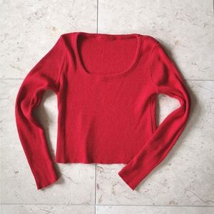 Vintage 90's Red knit crop cropped top long sleeve